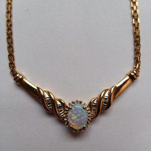 14K Italian Gold Opal & Diamond Necklace 6 Gram Wt